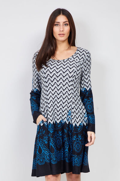 Grey | Border Print Knitted Dress