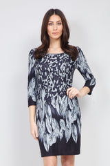 Grey | Animal & Feather Print Shift Dress