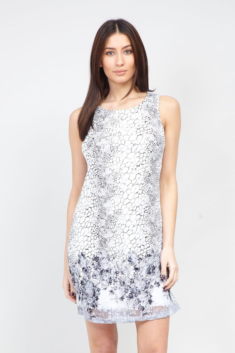 White | Snake Print Lace Shift Dress