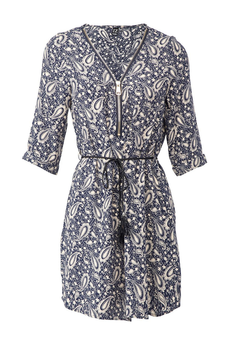 Navy | Paisley Tie Waist Tunic Dress