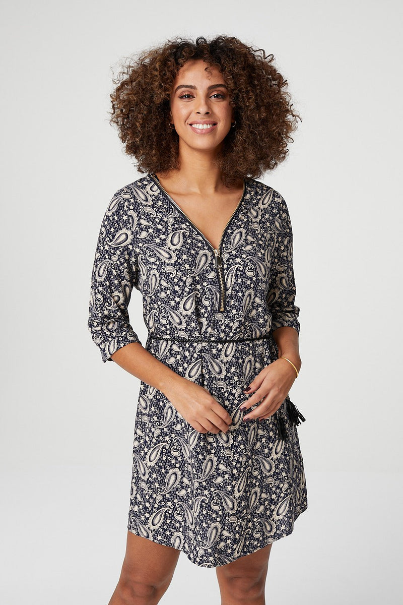 Paisley Tie Waist Tunic Dress
