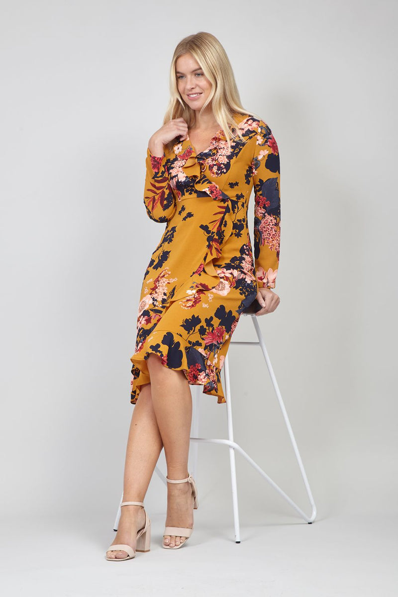 Yellow | Floral Wrap Front Midi Dress