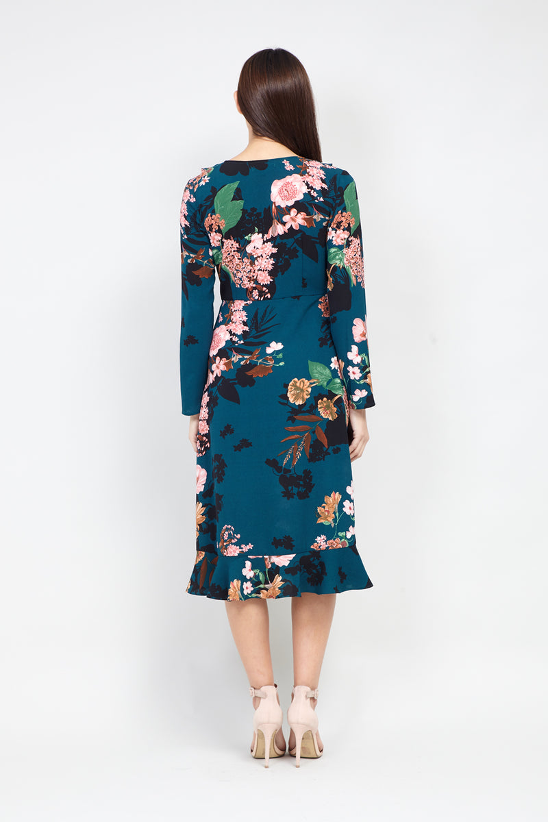 Teal | Floral Wrap Front Midi Dress