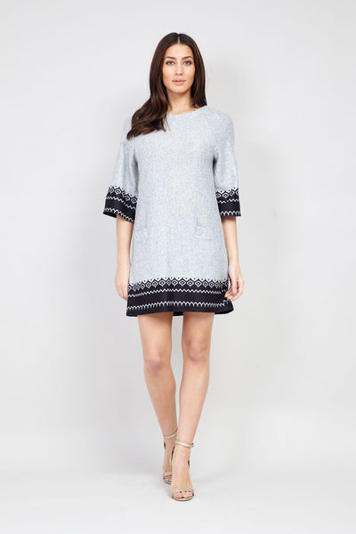 Grey | Fair Isle Print Knit Dress