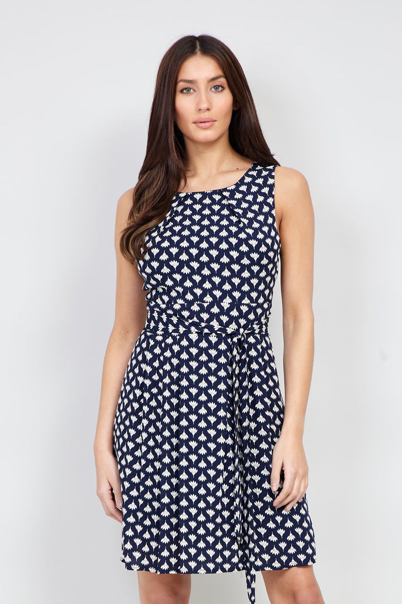 Navy | Floral Tie Waist Tea Dress