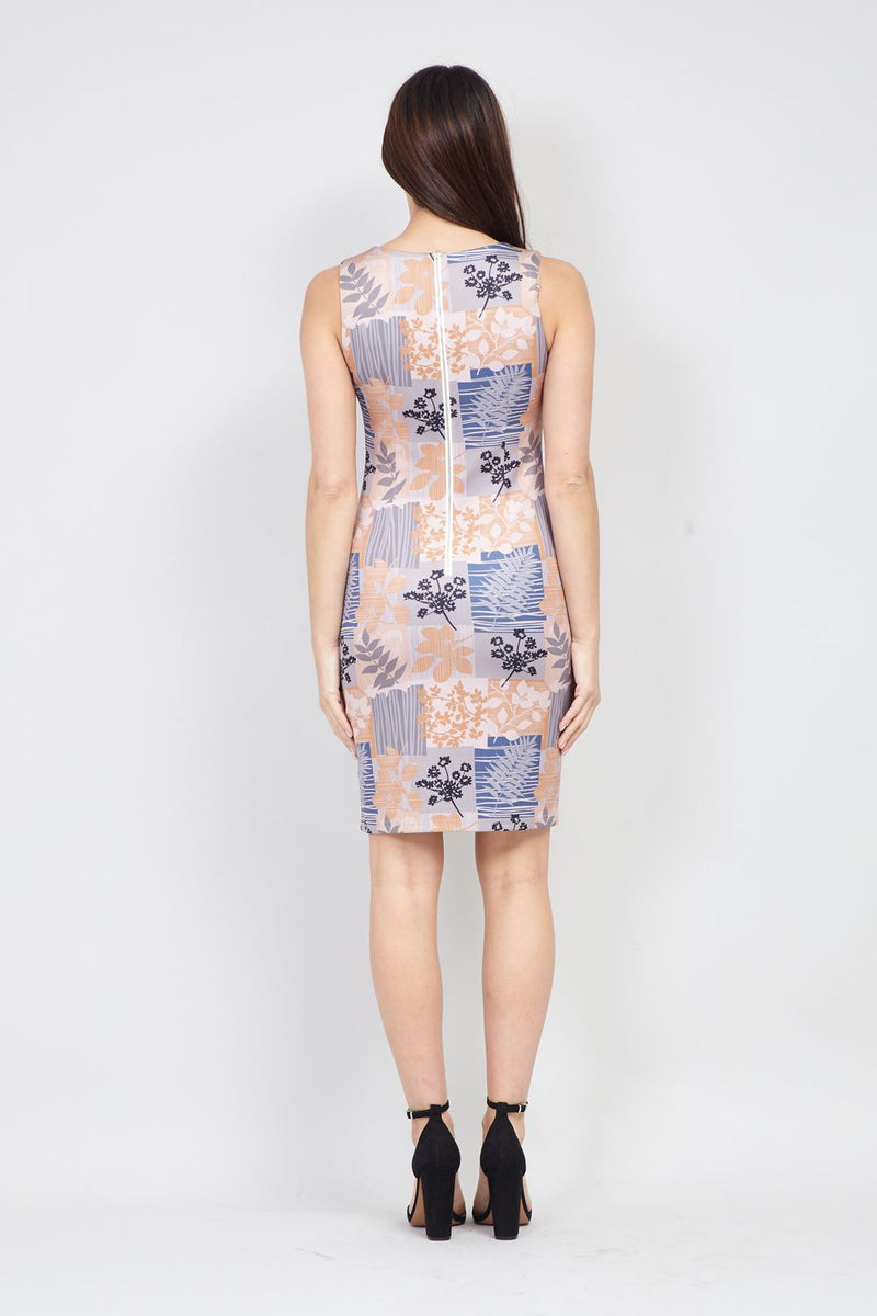 Beige | Patchwork Floral Shift Dress