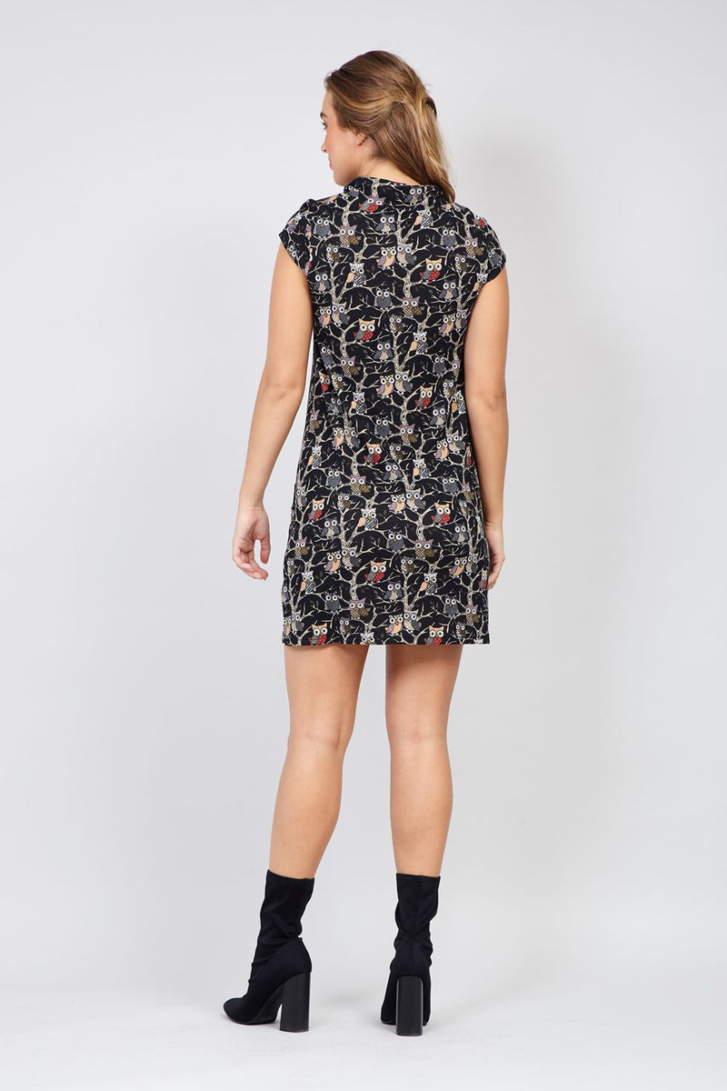 Black | Forest Print Knitted Dress