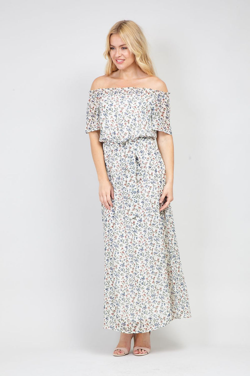 White | Ditsy Floral Bardot Maxi Dress | Izabel London