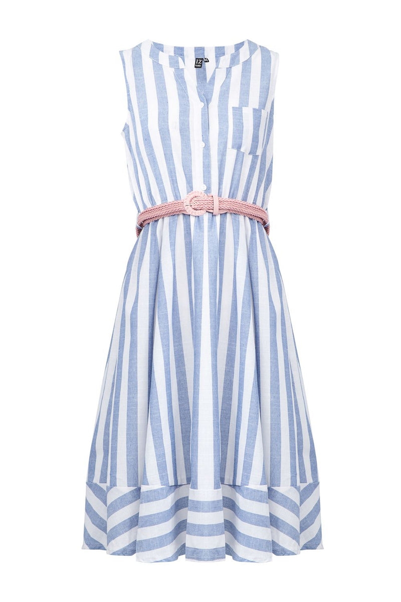 Blue | Striped Skater Dress
