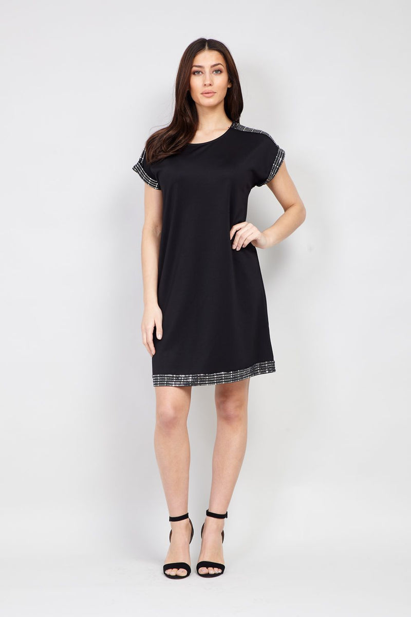 Black | Sequin Trim Shift Dress
