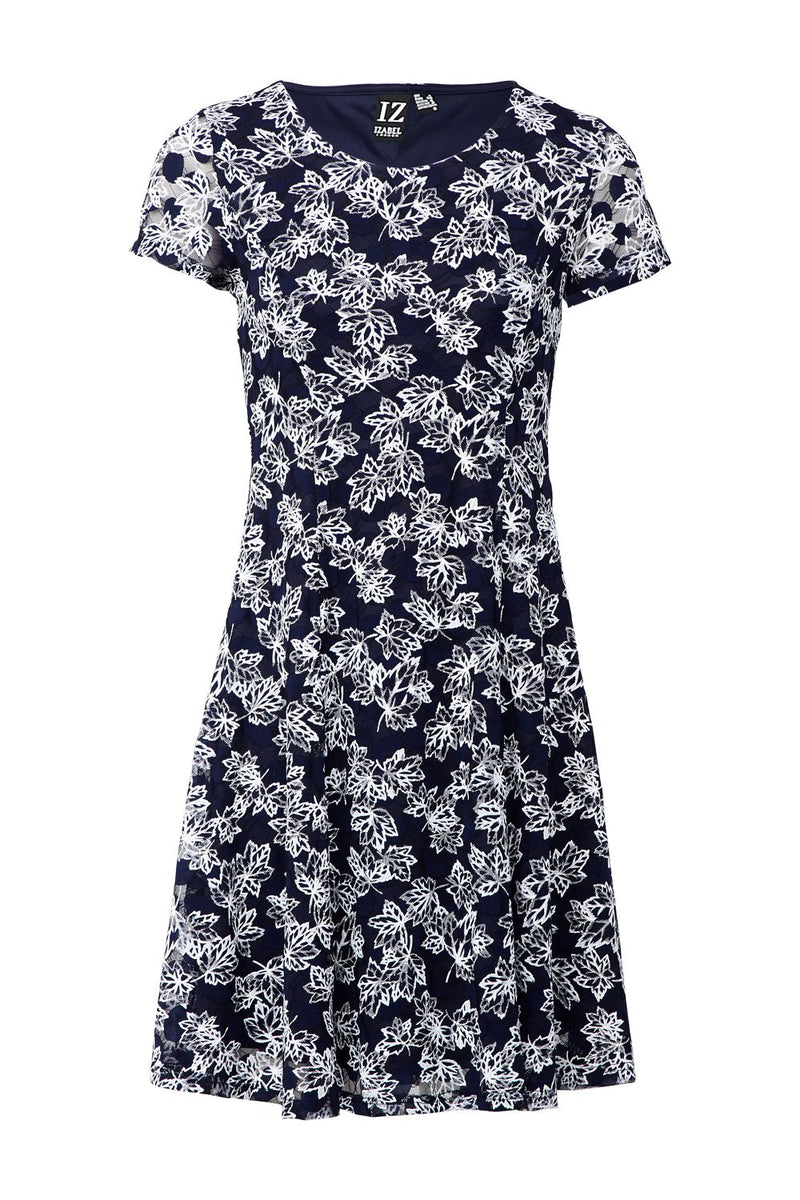 Navy | Leaf Print Skater Dress