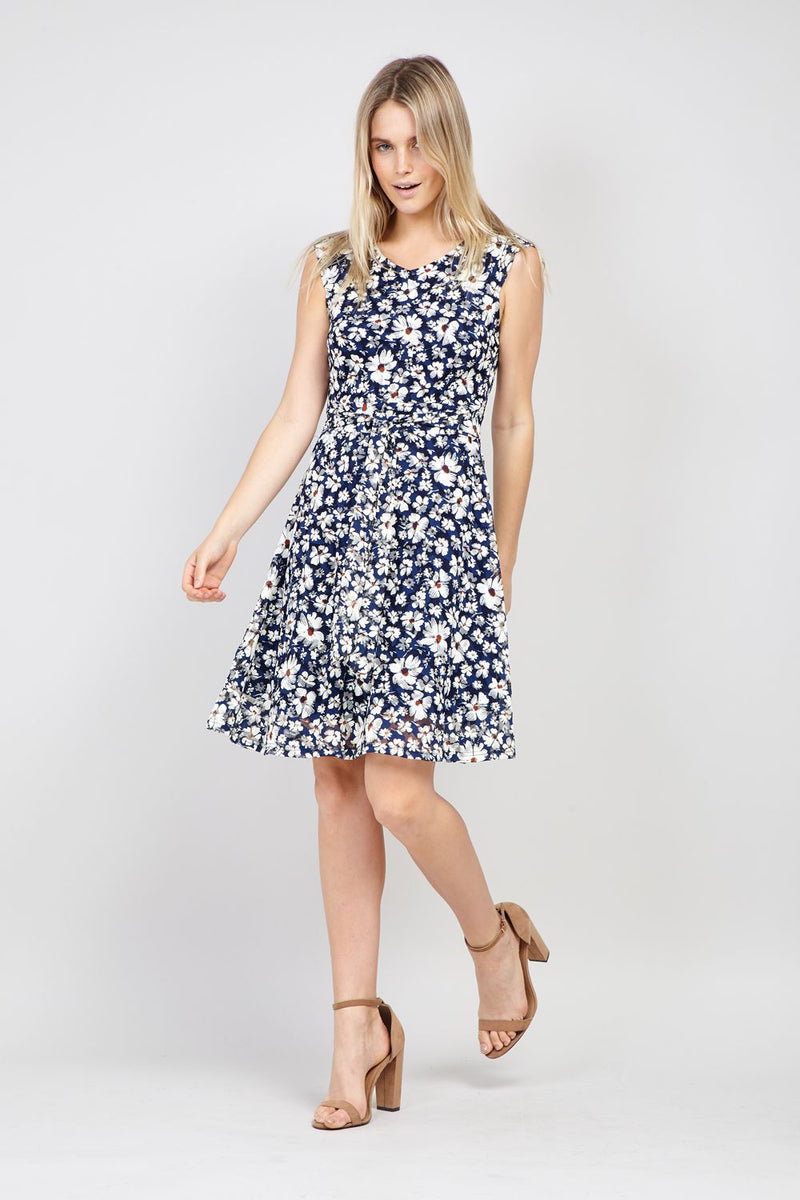 Navy | Daisy Print Lace Dress