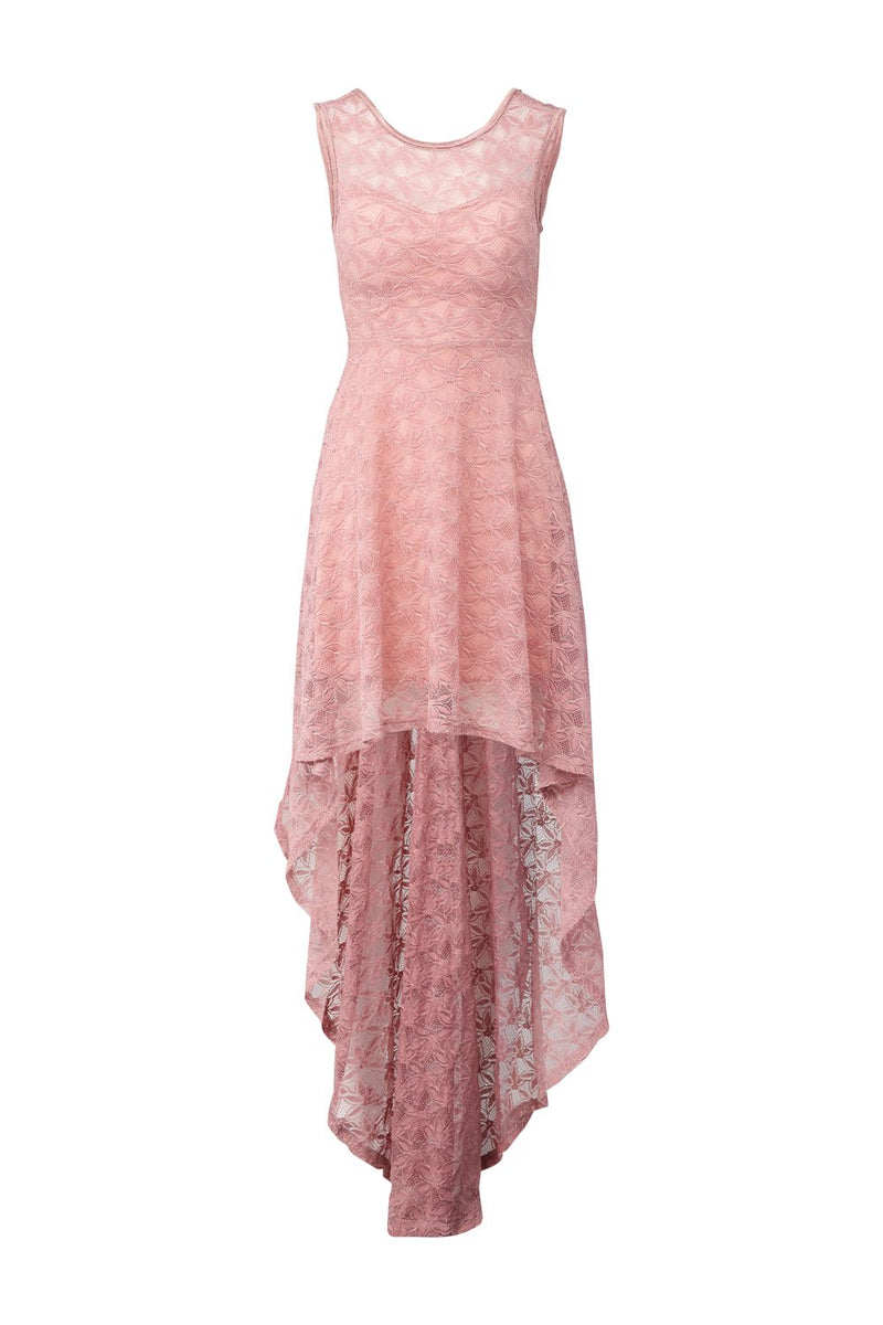 Pink | Lace High Low Maxi Dress