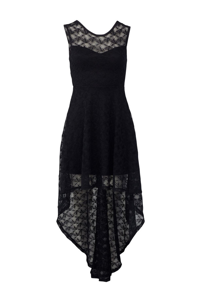 Black | Lace High Low Maxi Dress