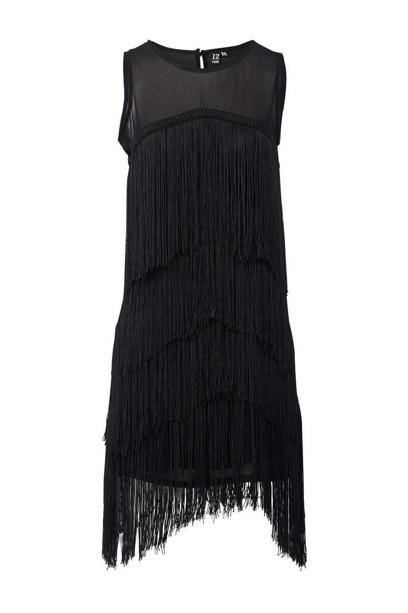 Black | Tiered Fringed Dress