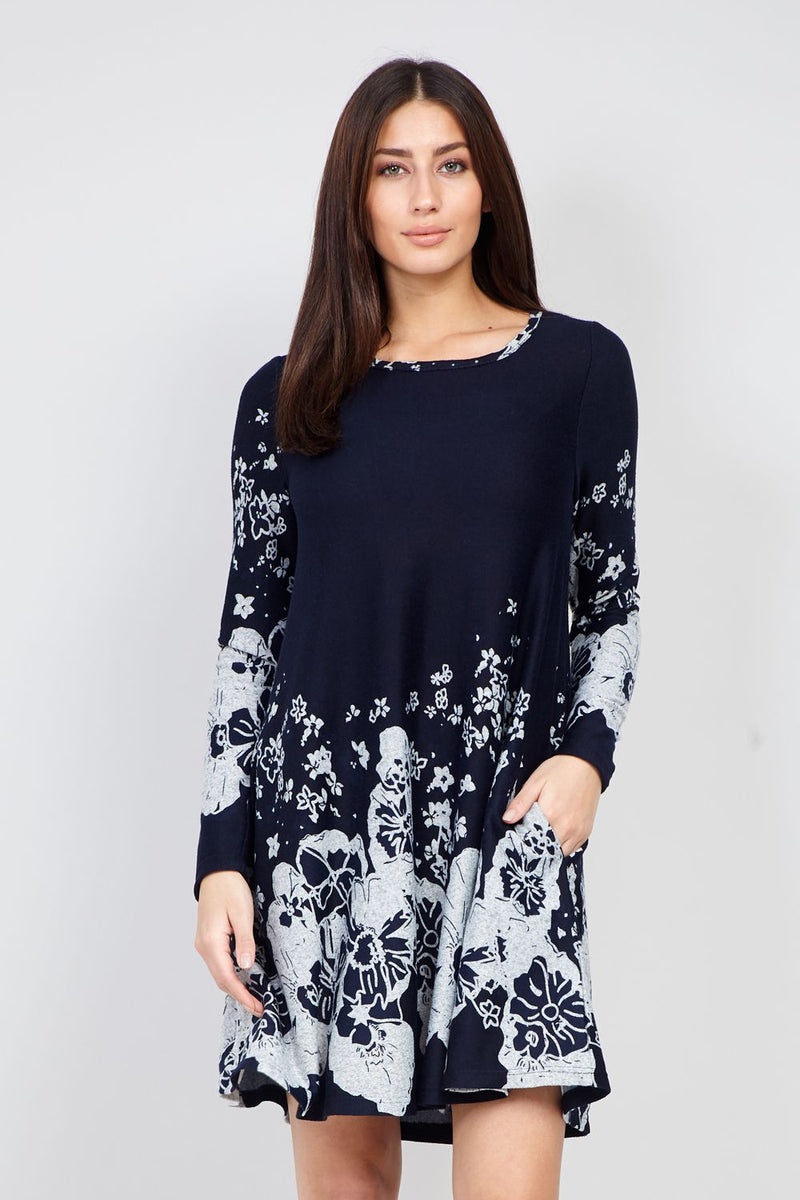 Navy | Floral Knitted Swing Dress