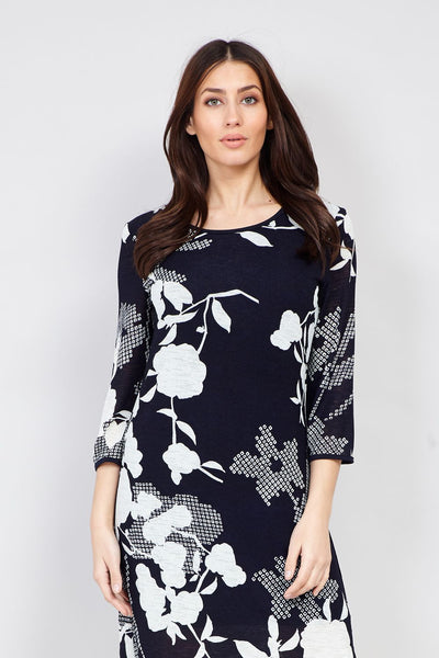 Navy | Floral Print Shift Dress