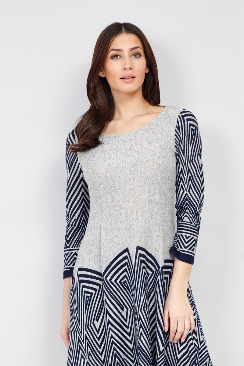 Navy | Geo Print Hanky Hem Dress