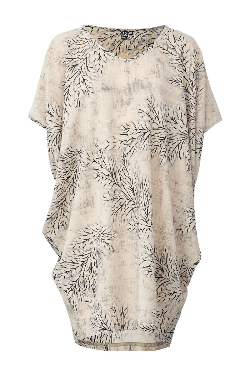 Beige | Leaf Print Tunic Dress