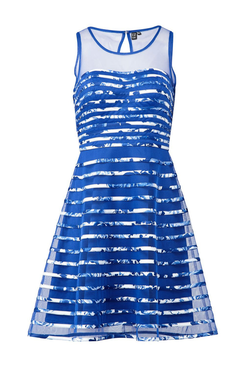 Blue | Floral Stripe Skater Dress