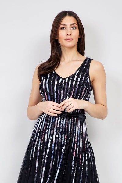 Black | Floral Striped A-Line Dress