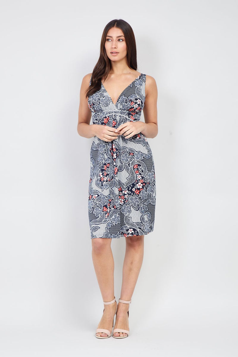 Eastern Print Sweetheart Dress - Izabel London