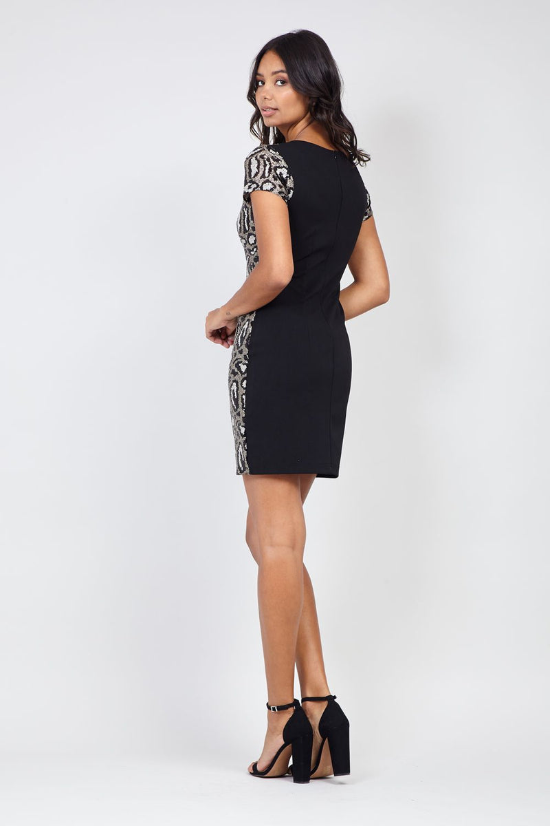 Silver | Animal Sequin Shift Dress