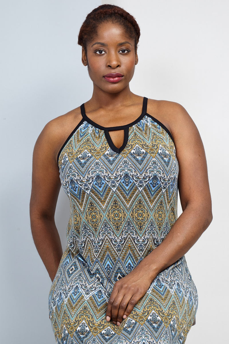 Blue | Curve Aztec Print Maxi Dress