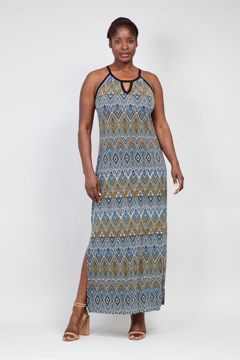 49c4d92d5ce Curve Aztec Print Maxi Dress - Izabel London