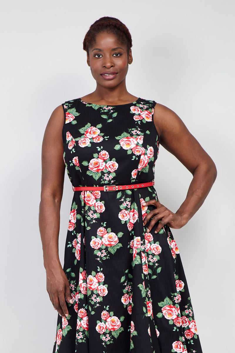 Black | Curve Floral Belted Skater Dress