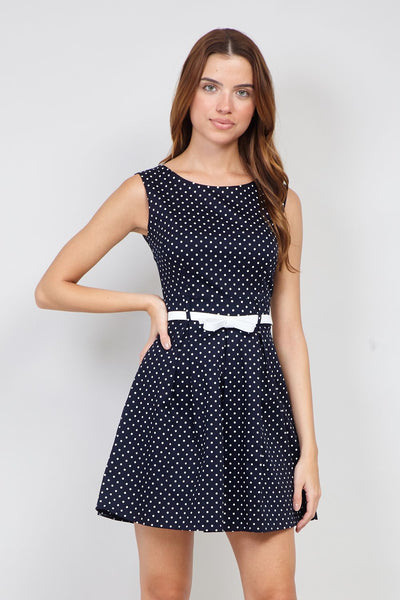 Navy | Polka Dot Skater Dress | Izabel London