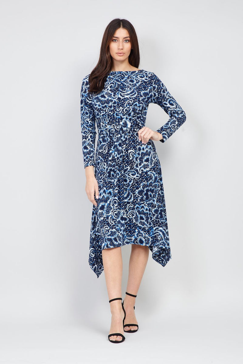 Navy | Floral Hanky Hem Midi Dress