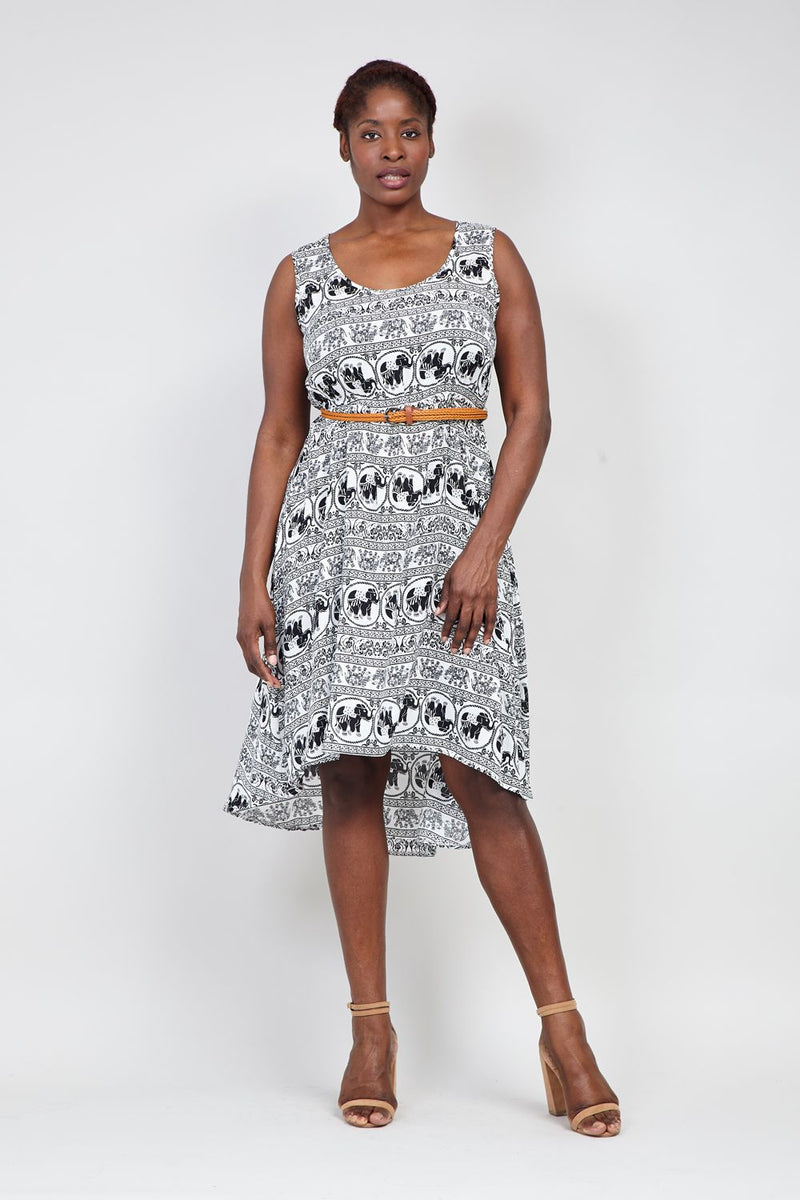 1a37f2b65cc Curve Elephant Print Midi Dress - Izabel London