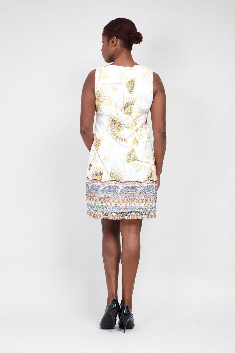 White | Curve Eastern Print Lace Shift Dress