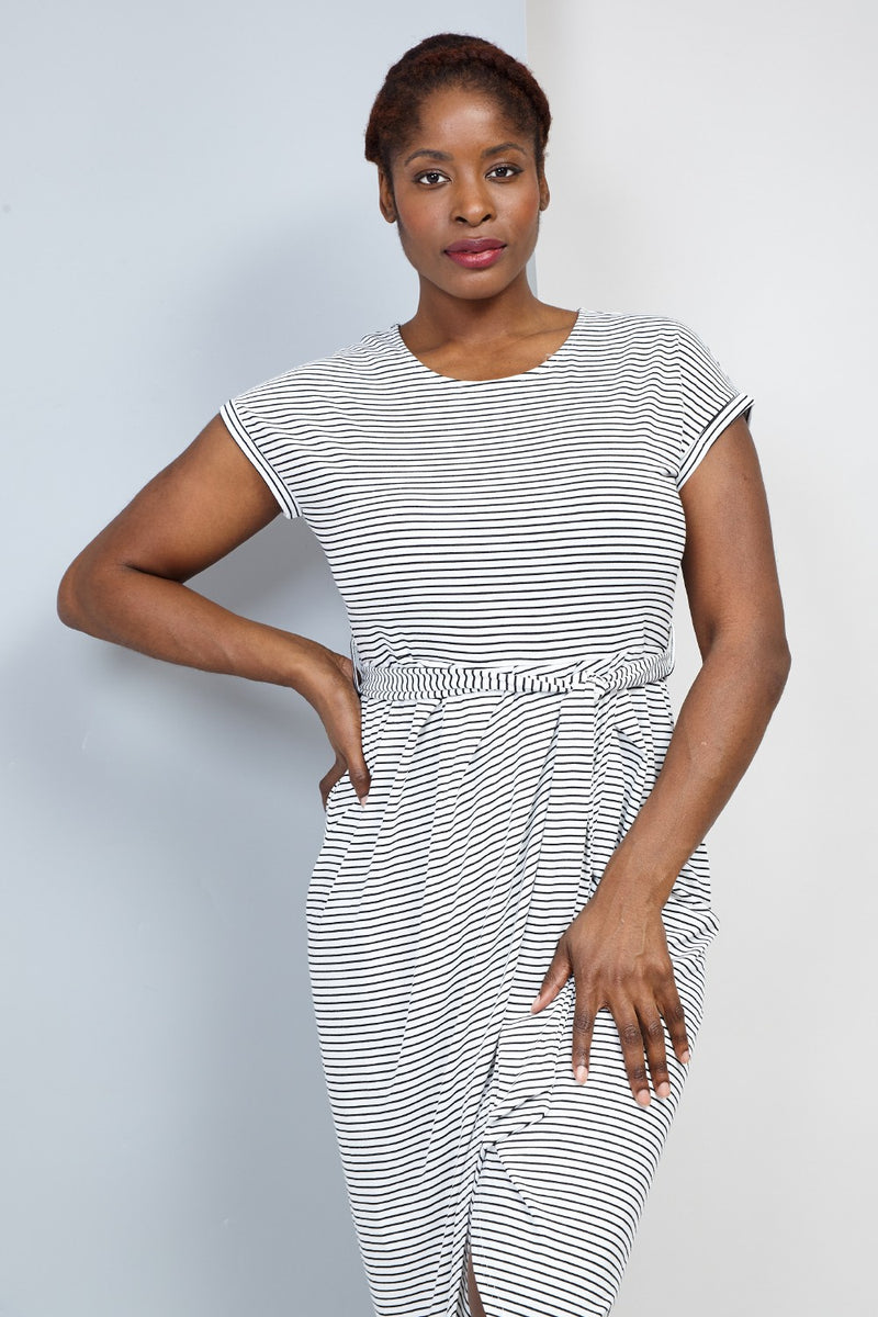 Black | Curve Striped Tie Waist Wrap Dress