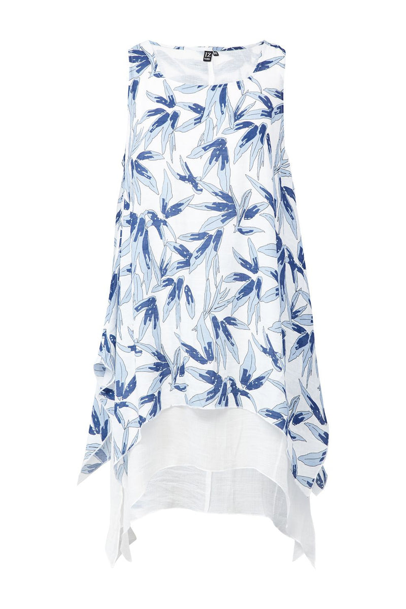 Blue | Floral Layered Hem Tunic