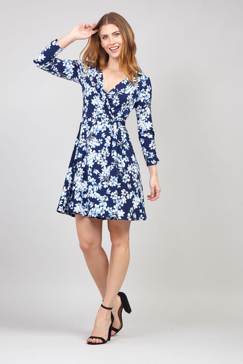 Navy | Floral Long Sleeve Wrap Dress