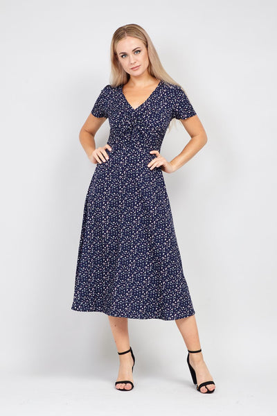 Navy | Floral Knot Front Midi Dress