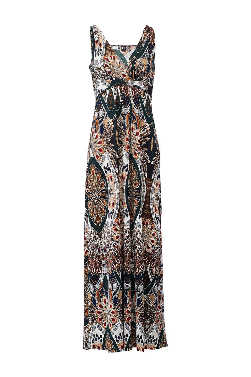 Green | Peacock Print Maxi Dress