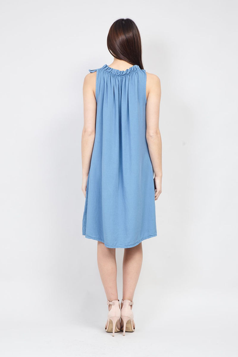 Blue | Ruffle Neck Shift Dress