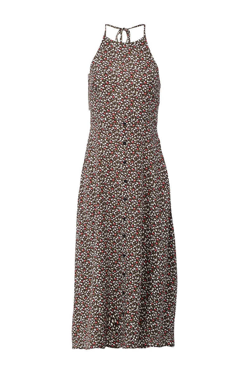 Brown | Floral Halterneck Midi Dress