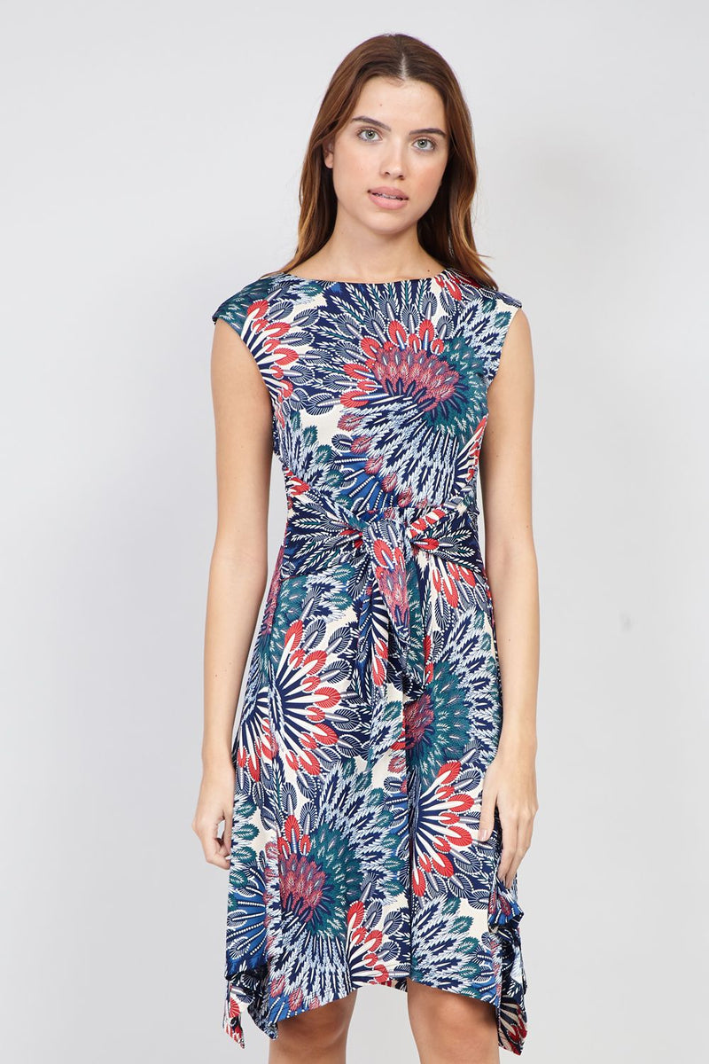 Navy | Peacock Print Tie Waist Dress