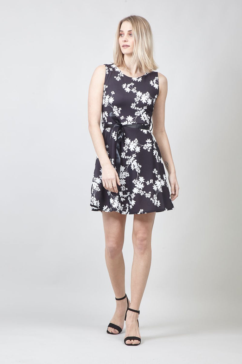 Black | Floral Tie Waist Skater Dress