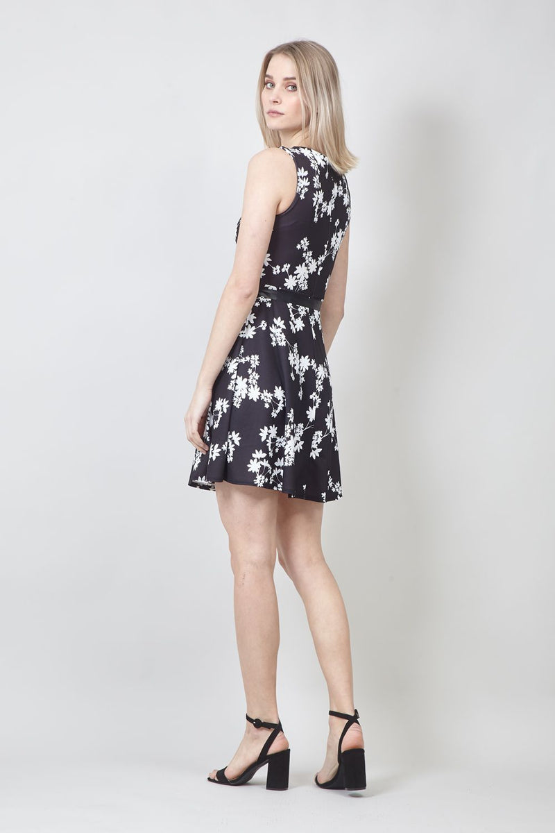 Black | Floral Belted Skater Dress