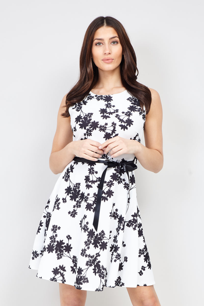 White | Floral Belted Skater Dress