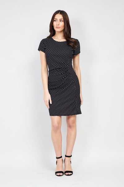 | Polka Dot Ruched Dress | Izabel London