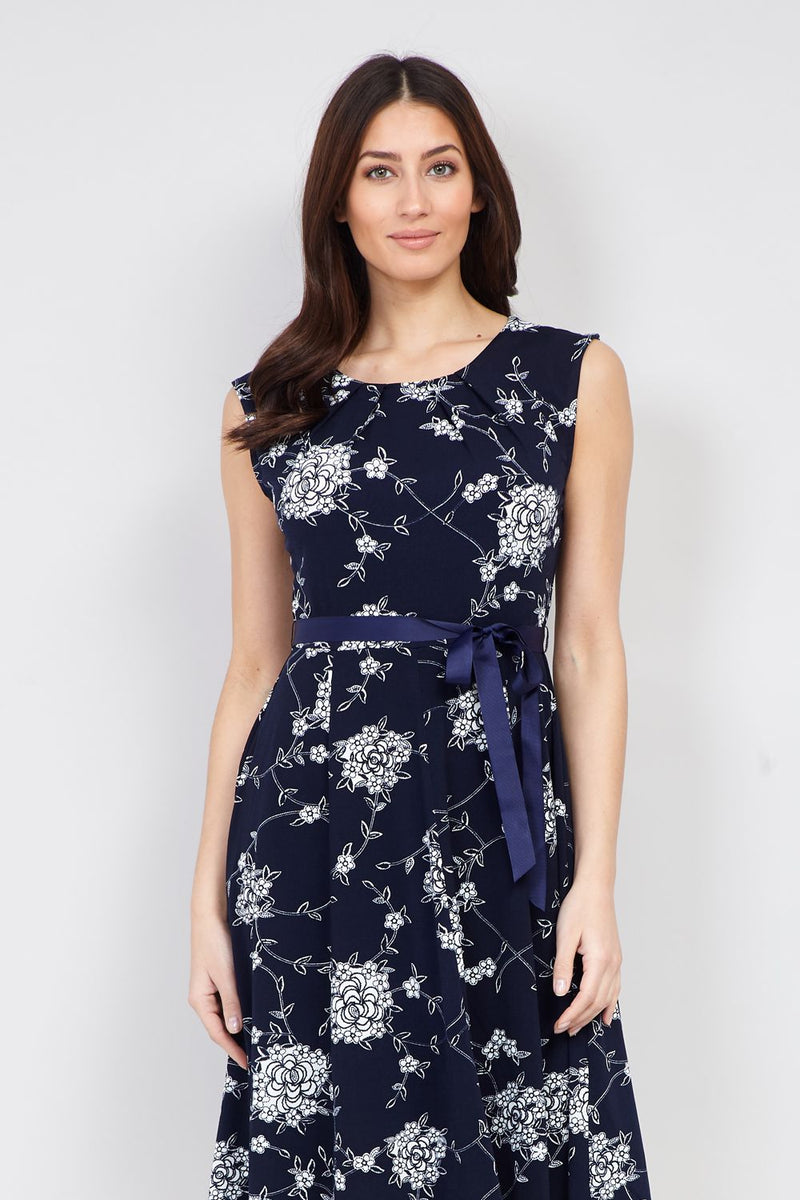 Navy | Floral Ribbon Belt Dress