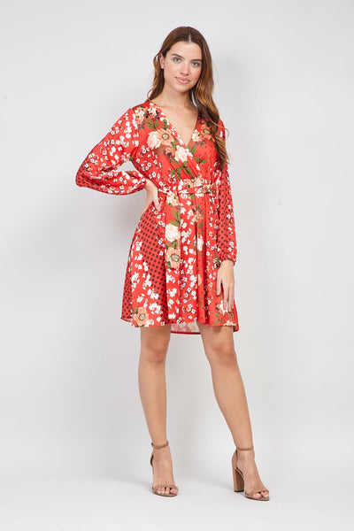 Floral Print Wrap Dress - Izabel London