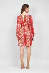 Red | Floral Print Wrap Dress