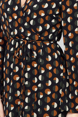 Black | Geo Print Wrap Front Dress